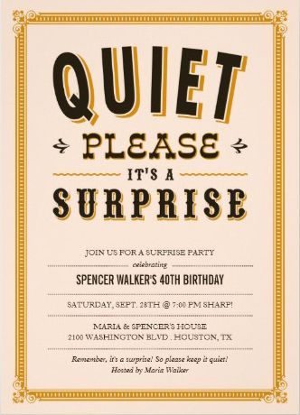 quiet please surprise birthday party or