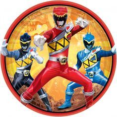 Power Rangers Dino Charge Paper Dessert Plates 7in 8ct | Wally's Party Factory #powerrangers #dinocharge #plate #party