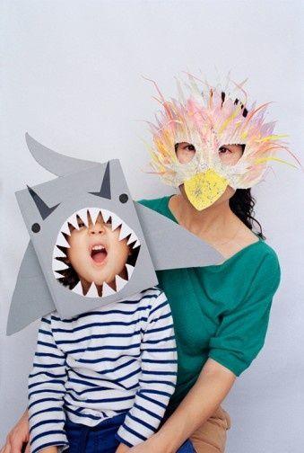 Máscara tiburón y pájaro de papel para carnaval