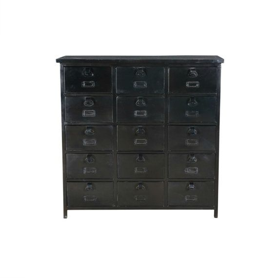 Small Chest of Drawers Black Iron    Part of a range of black iron industrial furniture, this black iron small chest of drawers is very solid and sturdy and can be used in so many ways such as for paperwork/filing, as storage for the kids work/pens/books and for clothes. The drawers have a slot on the front for labels which works really well if you chose to use this for kids homework, socks, underwear etc. The detail and quality of this item is great. Due to the industrial nature of this…