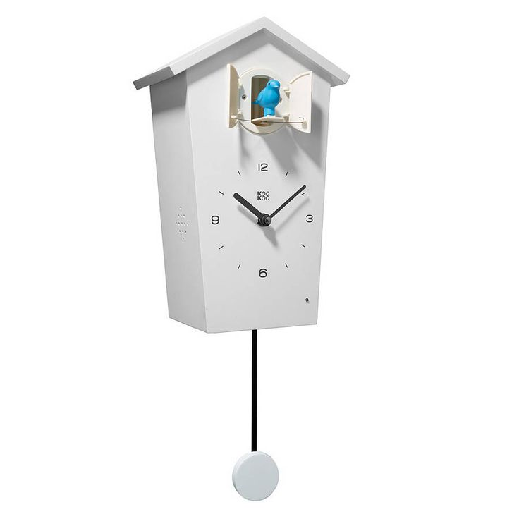 Stylish and fun modern cuckoo clock. Includes a set of 4 interchangeable coloured birds and pendulum discs as shown.At night the birds go to sleep (light sensor). Nice quality sound with volume control. All bird songs are authentic field recordings. Every hour on the hour, a new bird sings within a cycle, or the cuckoo calls the time or, a selected bird sings its melody. There are 12 songs to choose from, from the blackbird to the goldenoriole. Made from wood with matt white finish. Requires…