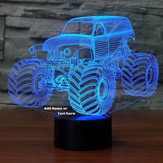Monster Truck 3d Illusion 7 Colors Changing Led Lamp With Etsy 3d Illusions Color Change Illusions