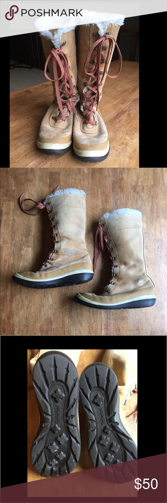 Timberland Winter Lace-up Boots These boots are super warm and crazy awesome!!  They have been worn but are in great condition. Timberland Shoes Lace Up Boots