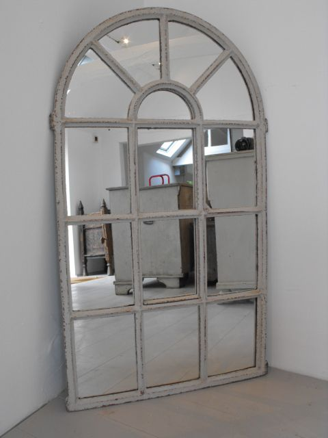Arched Top Painted Iron Window Mirror Over Fp Living