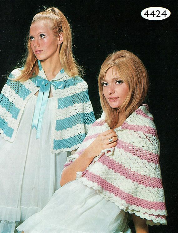 PDF Vintage 1970s Womens Ladies Cape Shawl Crochet pattern Bed
