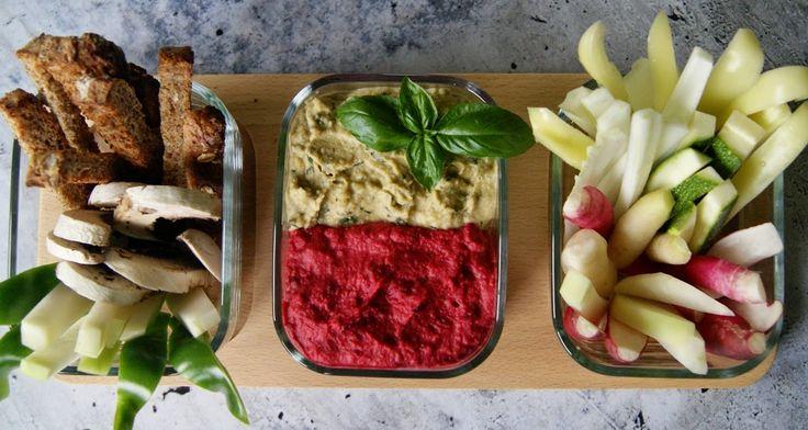 Hummus w dwóch wersjach - z pieczonym burakiem i bazylią