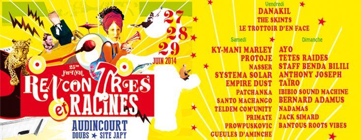 Programmation du Festival Rencontres et Racines. Du 27 au 29 juin 2014 à audincourt.
