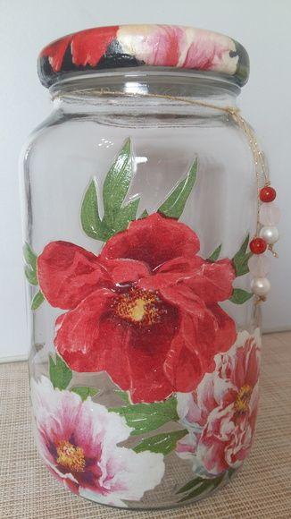 Pote decoupage floral