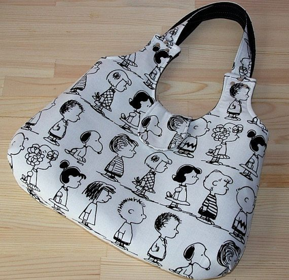 charlie brown snoopy different cartoon caracters prints purse / eco-friendly black white shoulder bag/tote bag/large diaper on Etsy, $66.67 AUD