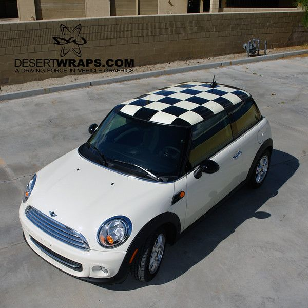 Specialty Car Wrap done on the rooftop of this Mini Cooper. #checkered #roof #carwrap #custom #mini
