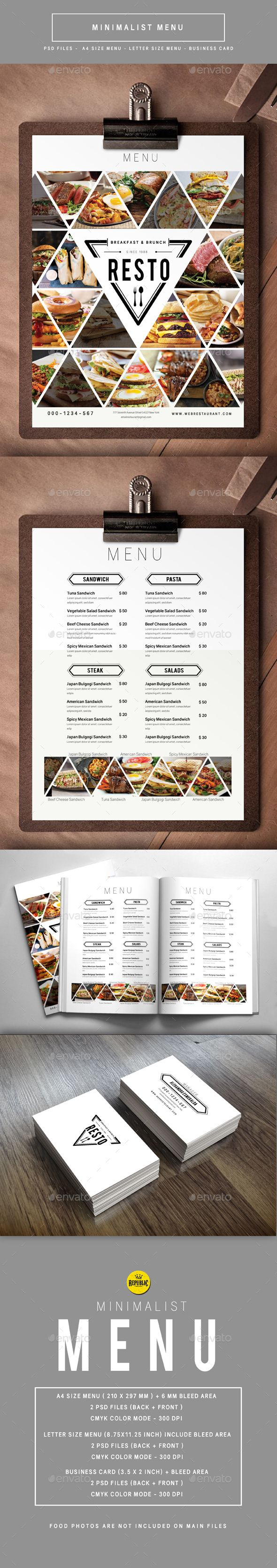 Minimalist Menu — Photoshop PSD #restaurant #bistro • Available here → https://graphicriver.net/item/minimalist-menu/16461198?ref=pxcr