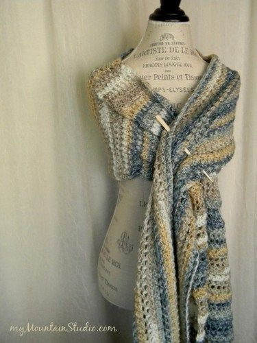 Women's Handmade Wrap Shawl in Blues Tans and More - Sand and Sea