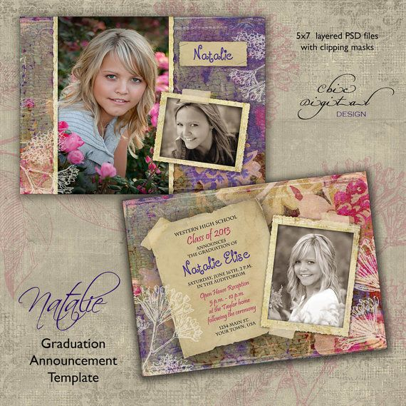 Graduation Announcement Card Template for by ChicDigitalDesign, $7.95
