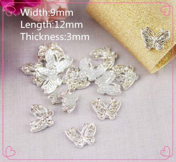 MJ4,10pcs 9*12*3mm Butterfly Mobile Beauty DIY pearl faceplate Rhinestone Button Hand Stick Flower Wholesale Jewelry Accessories
