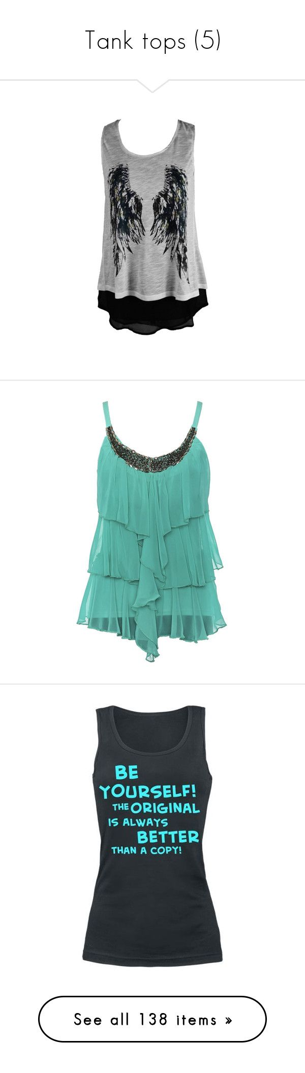 """Tank tops (5)"" by saur-the-great ❤ liked on Polyvore featuring tops, shirts, tanks, tank tops, shirt top, angel wing shirt, mint green shirt, mint green tank top, mint green top and mint top"