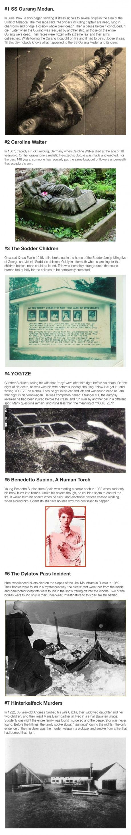 Seven unsolved mysteries from around the world.