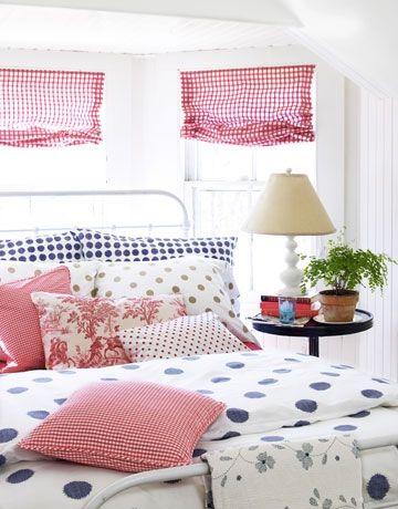 gingham & polka dot bedroom