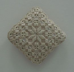 Hardanger Embroidery Emery Cushion by Roz Watnemo