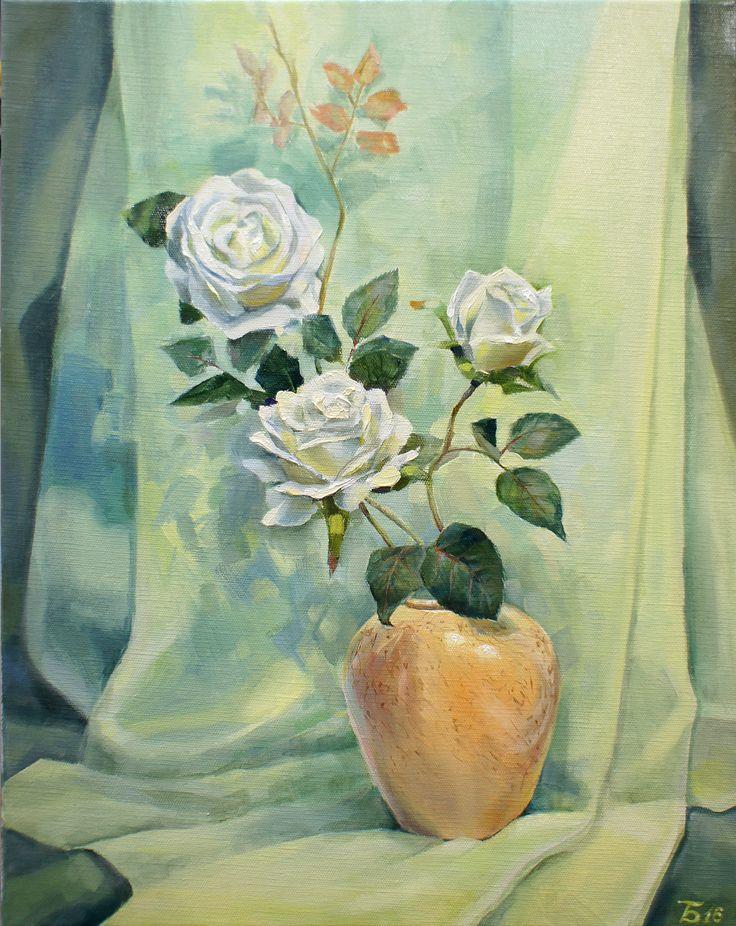 """Картина маслом """"Белые розы"""", 40х50 см, холст на подрамнике, авторская работа."""