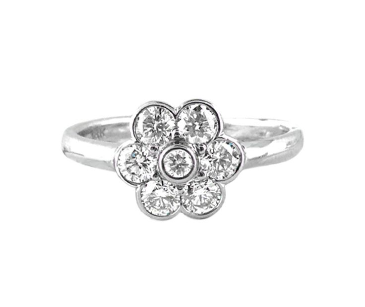 An 18ct White Gold and Diamond Floral Cluster Halo Ring