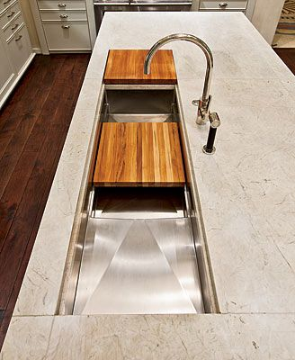 Kitchen Design Virtuoso Mick De Giulio Saves Space With His Multitiered,  Multifunctional Sinks Featuring Fitted Cutting Boards.
