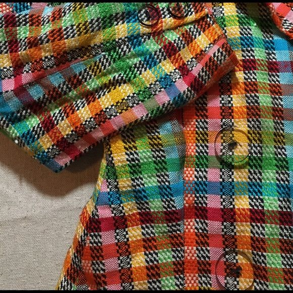 1980's Vintage Rainbow Plaid Blazer Size 10 Arabella Pollen for Saks 5th Avenue. 1980's vintage double breasted blazer. Wide notched lapels. Shoulder pads. Huge clear lucite buttons in front and on cuffs. 100% viscose. Fully lined. Size 8. Good condition with a couple of minor snags. Arabella Pollen Jackets & Coats Blazers