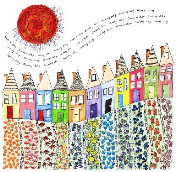 Sunny Day Terrace, a print by Fiona Willis