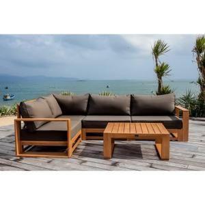 Canapé d'angle + table basse - Matière : bois d'eucalyptus - Coloris : marron et anthracite.