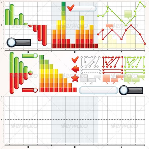 Business Graphs Collection  #GraphicRiver         Collection of Variety Business Graphs, Diagrams. Vector Kit for Your Spreadsheet Design and Economic Presentation.  	 - vector illustration, only simply linear and radial gradients used  	 - vector objects separated and grouped  	 - no blends, gradient mesh used  	 - vector available CMYK colors and ready for print  	 - pack include version AI, CDR, EPS, JPG  Keywords: vector, line, stripe, lined, elements, mark, customizable, analysis, grid…
