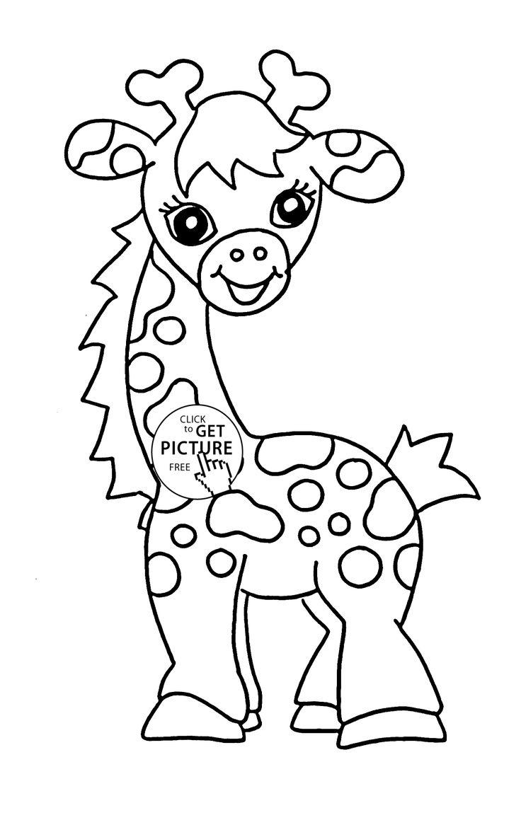 Free coloring page giraffe - Baby Giraffe Animal Coloring Page For Kids Baby Animal Coloring Pages Printables Free Wuppsy