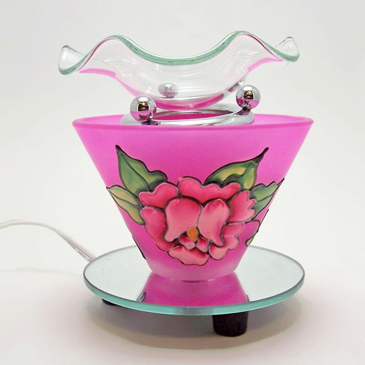 Etched Rose with Mirror Base Electric Scented Oil Warmer - OWEF205 - One piece electric scented oil fragrance warmer with removeable fragrance bowl. A raised etched rose on a deep pink background design on two sides.  Round mirror base. Dimmer dial, with on / off switch, lets you control the light, heat and aroma intensity FOR SALE