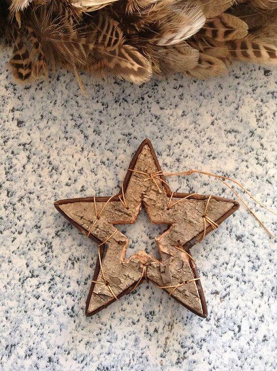 Wooden Star decoration  hanging birch star. by artofcandles