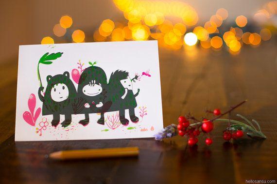 """Greeting Card """"Three Hills"""" by Sansu"""