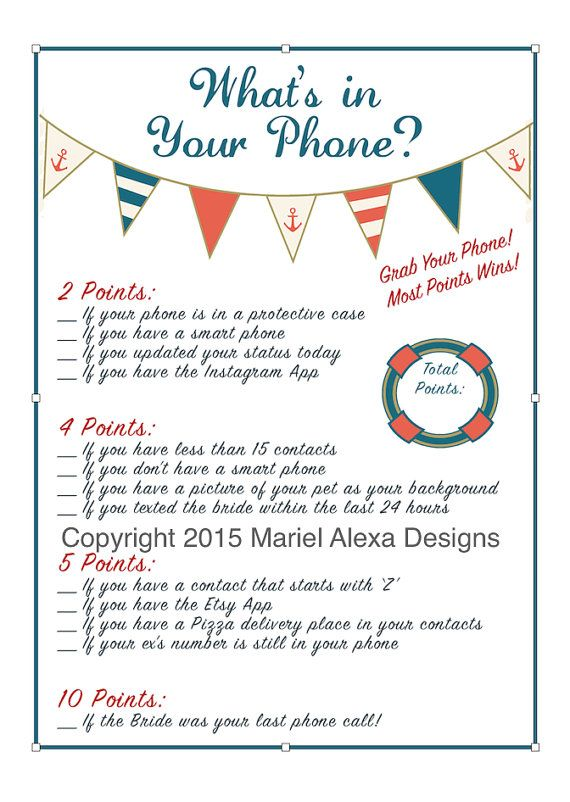 Cell Phone Game - Bridal Shower Game - Nautical Theme - Fun Unique Games DIY PDF Wedding Personalized - What's in your cellphone?
