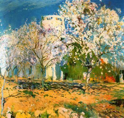 """Joaquim Mir Trinxet (1873-1940). """"Almendros floridos"""". Óleo sobre tela. 93 x 103 cm. Colección P. Bonet Fargas. Barcelona. Catalunya."""