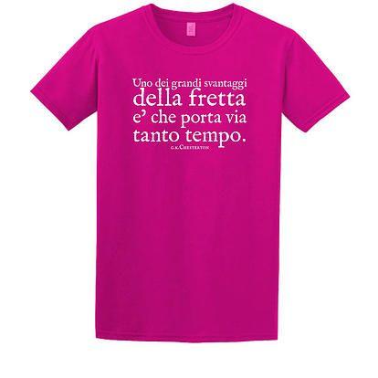 """Stampa T-Shirt Bambino #chesterton #frassati #distributismo """"Uno dei grandi svantaggi della fretta è che porta via tanto tempo"""" cit. GKC"""