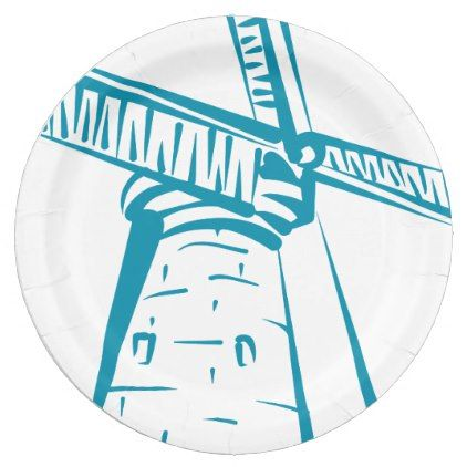 Holland Windmill in Blue Paper Plate - blue gifts style giftidea diy cyo