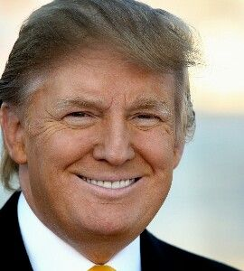 Donald J. Trump (1946- ) Age 70. Former land developer and TV personality, Donald Trump threw his hat in the political ring in 2015, winning the Republican party election in April of 2016 and defeating Former Secretary of State and Democratic nominee Hillary Clinton in November. He will be sworn in as the 45TH President of the United States of America on January 20th, 2017