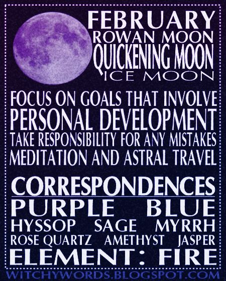 February Full Moon Esbat: Names, correspondences and ritual goals. #wicca