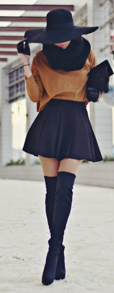 Fall fashion | Brown sweater, scarf, floppy hat, high waist skirt, half gloves and over the knee boots