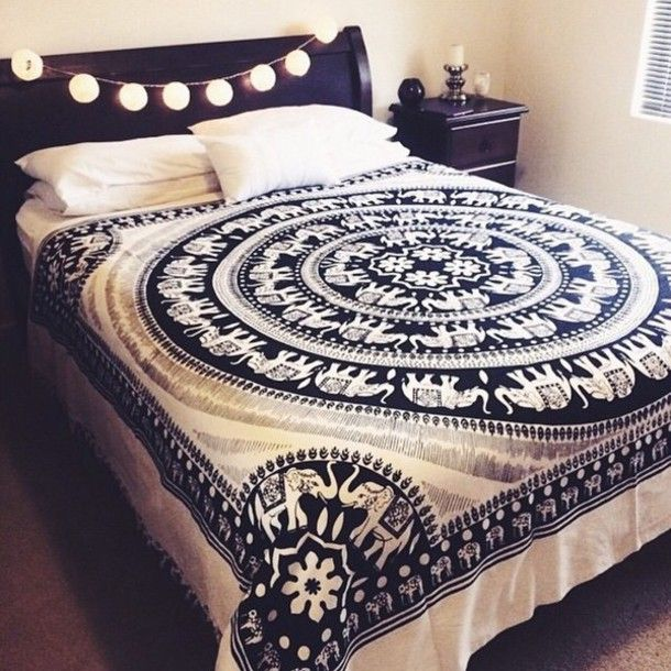 Black and White Elephant Mandala Fringed Tapestry Indian Bedding Bedspread - RoyalFurnish.com