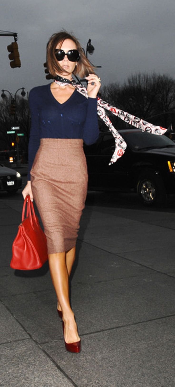 Navy, red tweed, red pump and patterned scarf