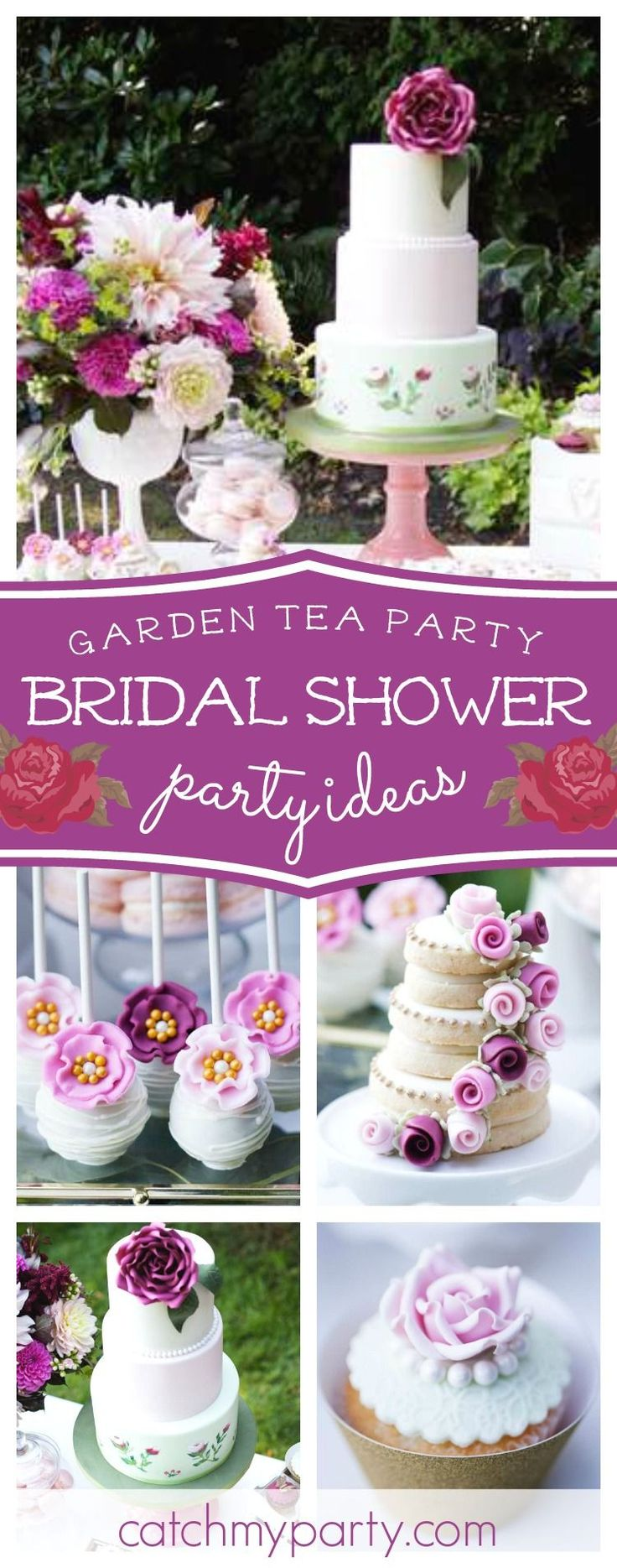 Step into this secret garden and take a look at this beautiful Tea Party Baby Shower! The cake pops are exquisite!!  See more party ideas and share yours at CatchMyParty.com #catchmyparty #partyideas #teaparty #gardenparty #vintage