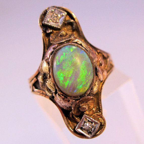 Art Nouveau 14K Opal Diamond Ring Rose Gold by BrightEyesTreasures