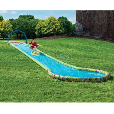 The Only Surfing Water Slide - Hammacher Schlemmer teach your kids to surf in the backyard