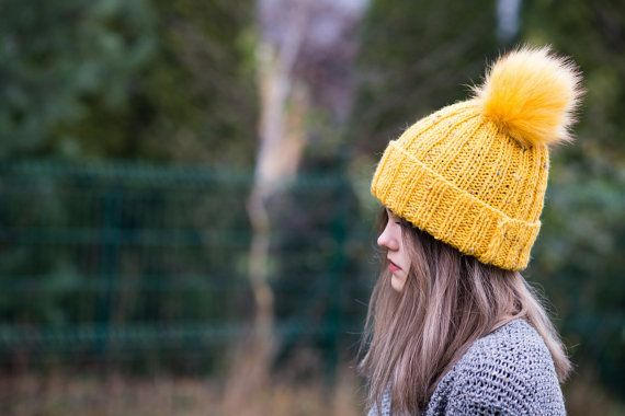 Pompom hat  Yellow beanie   Yellow knit hat by Isabellwoolstudio, #Pompomhat, #Yellowbeanie