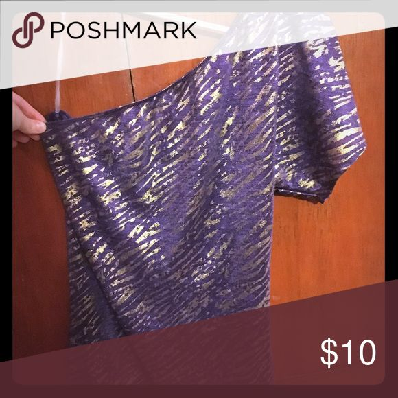 One Shoulder Zebra Print Top Purple and gold zebra top. Very cute! Only worn a couple of times. Tops