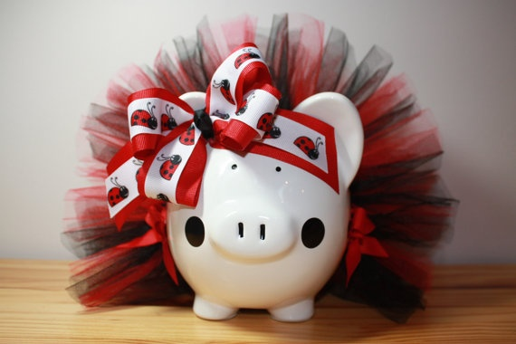 Ladybug Theme Piggy Bank With Red And Black Tutu by Swoopadaisies, $25.00