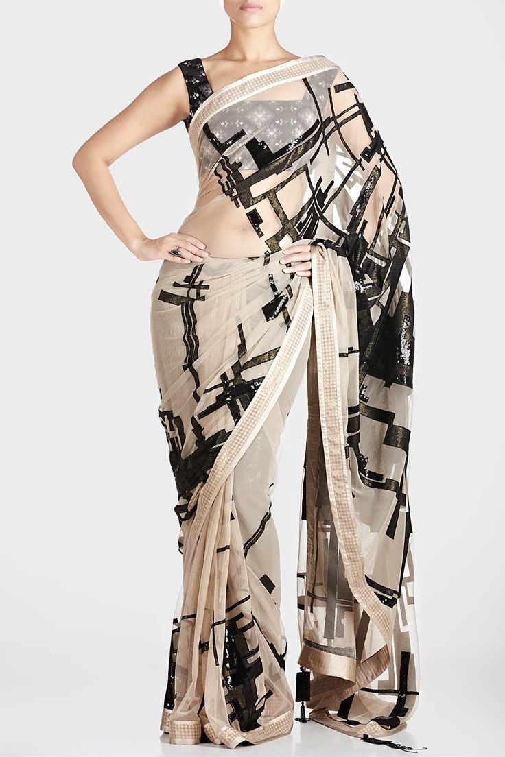 Cream Embellished Saree