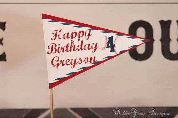 Baseball Party Decorations 5 inch Pennant Cake by BellaGreyDesigns, $13.00